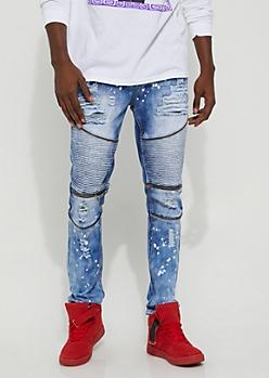 Flex Medium Wash Bleach Accented Skinny Moto Jeans
