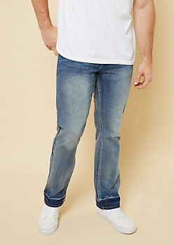 Light Wash Sandblasted Relaxed Straight Jeans