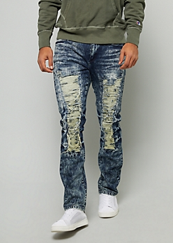 Flex Dark Acid Wash Distressed Skinny Jeans