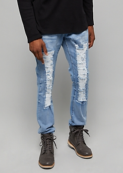 Flex Light Wash Destroyed Slim Fit Jeans
