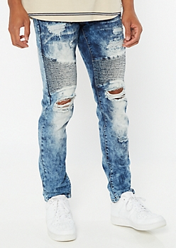Supreme Flex Acid Wash Ripped Repaired Moto Jeans