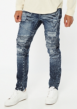 Supreme Flex Marble Wash Ripped Repaired Moto Jeans