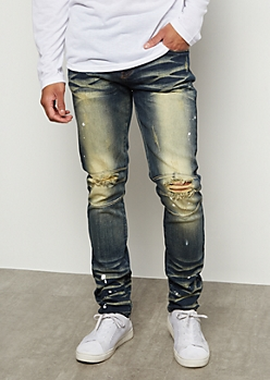 Flex Dark Wash Sunbaked Paint Splatter Skinny Jeans