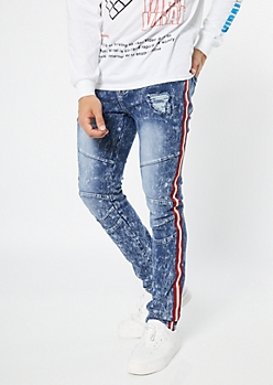 Supreme Flex Medium Acid Wash Side Striped Skinny Jeans