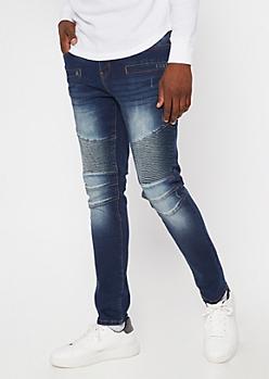 Dark Wash Sandblasted Skinny Moto Jeans