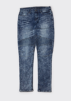 Dark Acid Wash Ripped Skinny Moto Jeans