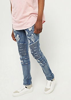 Flex Dark Wash Distressed Moto Skinny Jeans