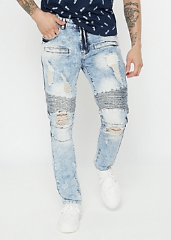 Light Acid Wash Moto Distressed Skinny Jeans
