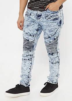 Medium Acid Wash Super Skinny Moto Jeans