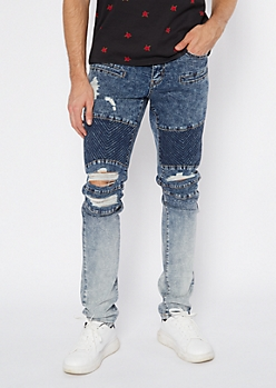 Medium Acid Wash Patched Ombre Ripped Moto Jeans