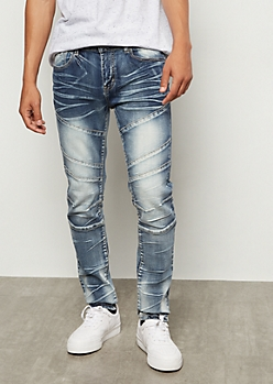 Flex Medium Acid Wash Moto Skinny Jeans