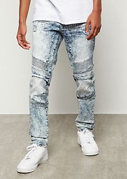 Flex Medium Acid Wash Knit Moto Skinny Jeans