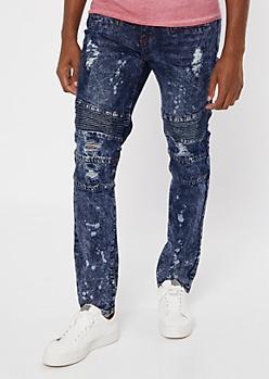 Supreme Flex Dark Wash Moto Bleached Skinny Jeans