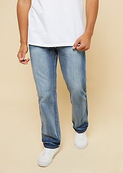 Medium Wash Sandblasted Bootcut Jeans