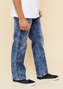 Dark Wash Topstitched Bootcut Jeans