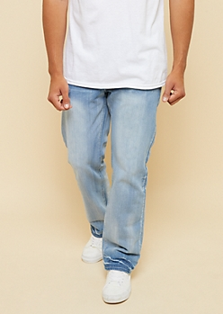 Light Wash Topstitched Pocket Bootcut Jeans