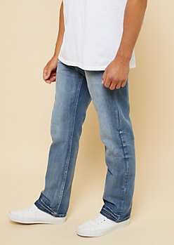 Medium Wash Topstitched Pocket Bootcut Jeans