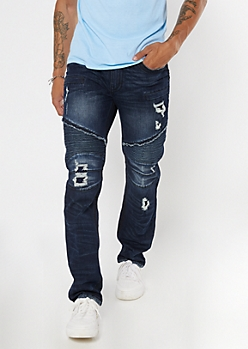 Dark Wash Heavy Stitch Skinny Jeans
