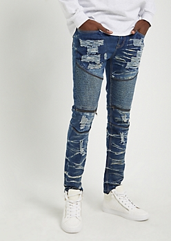 Flex Dark Destroyed Zip Moto Skinny Jeans
