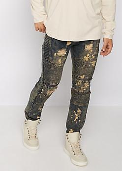 Flex Acid Washed Ripped Moto Skinny Jeans