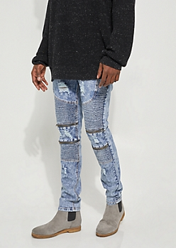 Dark Wash Flex Skinny Distressed Double Moto Jeans