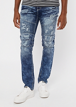 Supreme Flex Medium Wash Moto Embroidered Skinny Jeans