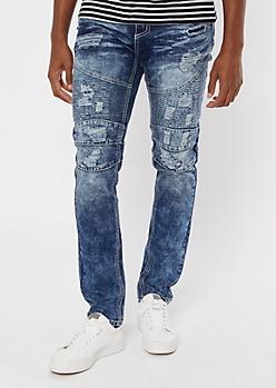 Supreme Flex Medium Wash Moto Embroidered Skinny Jeans