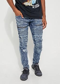 Dark Acid Wash Zippered Moto Skinny Jeans