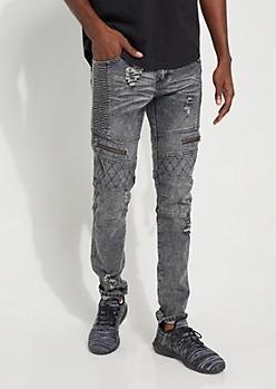 Black Vintage Wash Quilted Moto Skinny Jeans