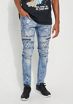 Light Wash Quilted Moto Skinny Jeans