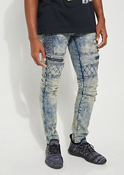 Medium Wash Quilted Moto Skinny Jeans