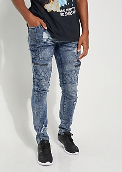 Dark Wash Quilted Moto Skinny Jeans