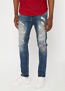 Supreme Flex Medium Wash Embroidered Skinny Jeans