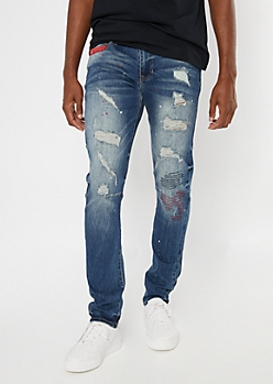 Dark Wash Paint Splattered Ripped Reinforced Skinny Jeans