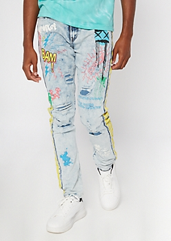 Light Wash Graffiti Print Skinny Arc Jeans