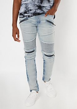 Bleach Wash Zip Moto Skinny Jeans