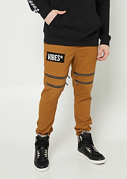 Camel Twill Vibes Patch Zip Joggers