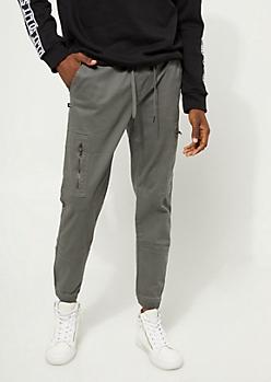 Charcoal Gray Cargo Zip Joggers