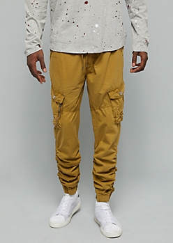 Light Brown Utility Cargo Pocket Twill Joggers