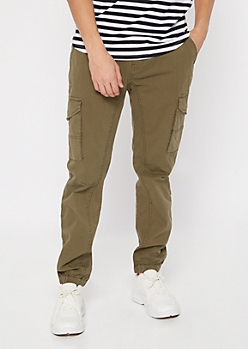 Olive Twill Cargo Joggers