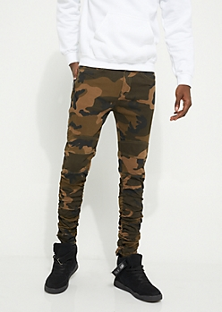 Camo Zip Pocket Ruched Joggers