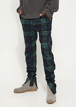 Flex Green Plaid Print Joggers