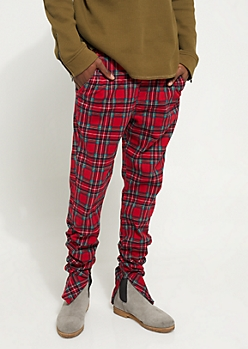 Flex Red Plaid Ruched Leg Joggers