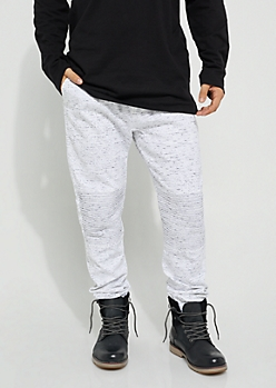 White Specked Moto Twill Joggers