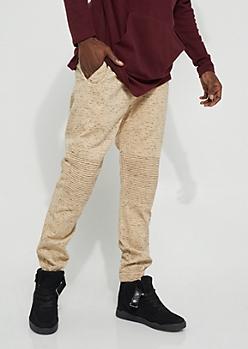 Khaki Specked Moto Twill Joggers