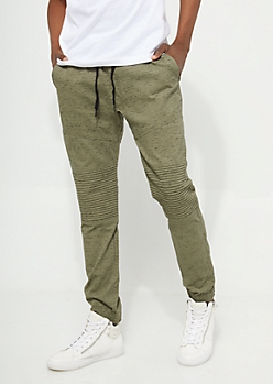 Olive Space Dye Moto Joggers