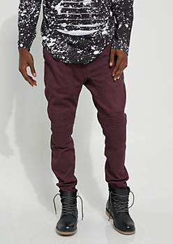 Dark Red Specked Moto Twill Joggers