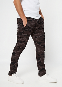Flex Black Camo Print Cargo Skinny Joggers