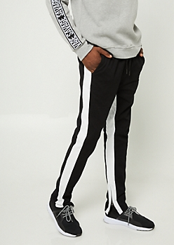 Black Varsity Stripe Pattern Zipper Joggers