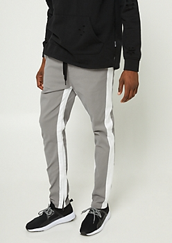 Grey Varsity Stripe Pattern Zipper Joggers